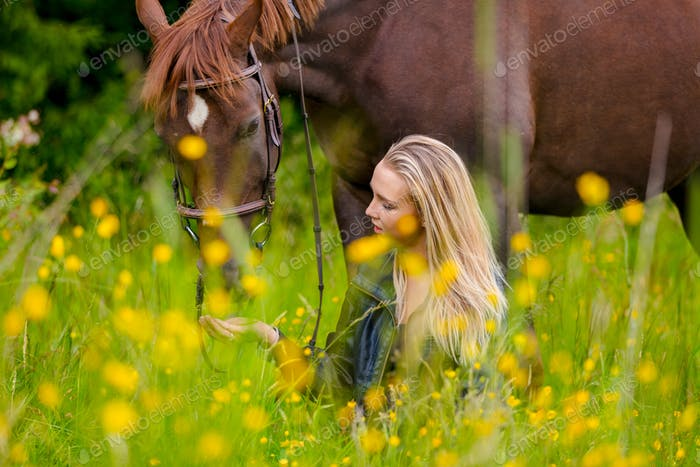 Woman sitting and talking in the meadow feeding her arabian horse