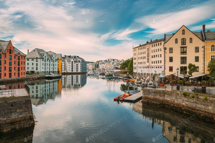 Alesund, Norway. Old Wooden Houses In Cloudy Summer Day. Art Nouveau Architecture Is Historic