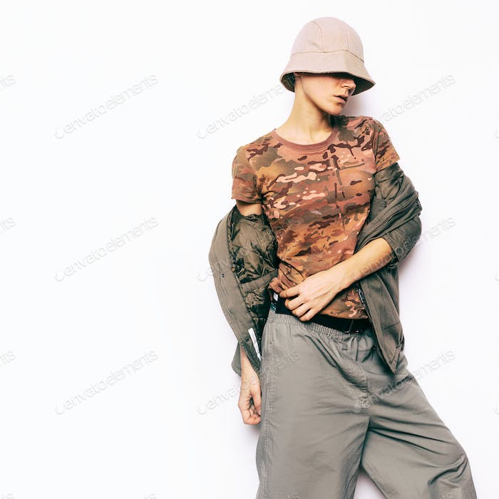 Military Fashion Style. Urban Hipster Fashion Model