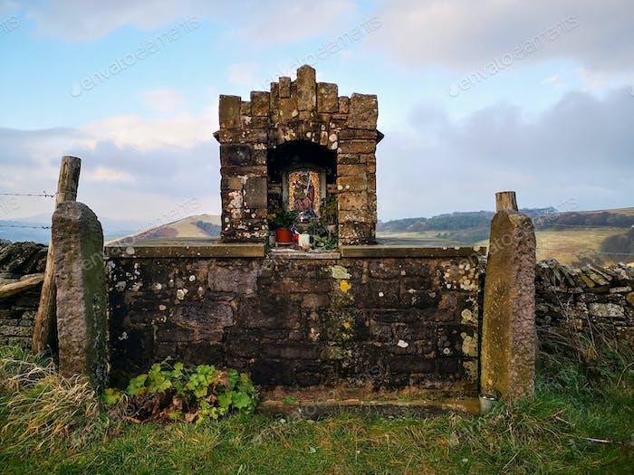 A roadside shrine at Goyt's Lane near Buxton