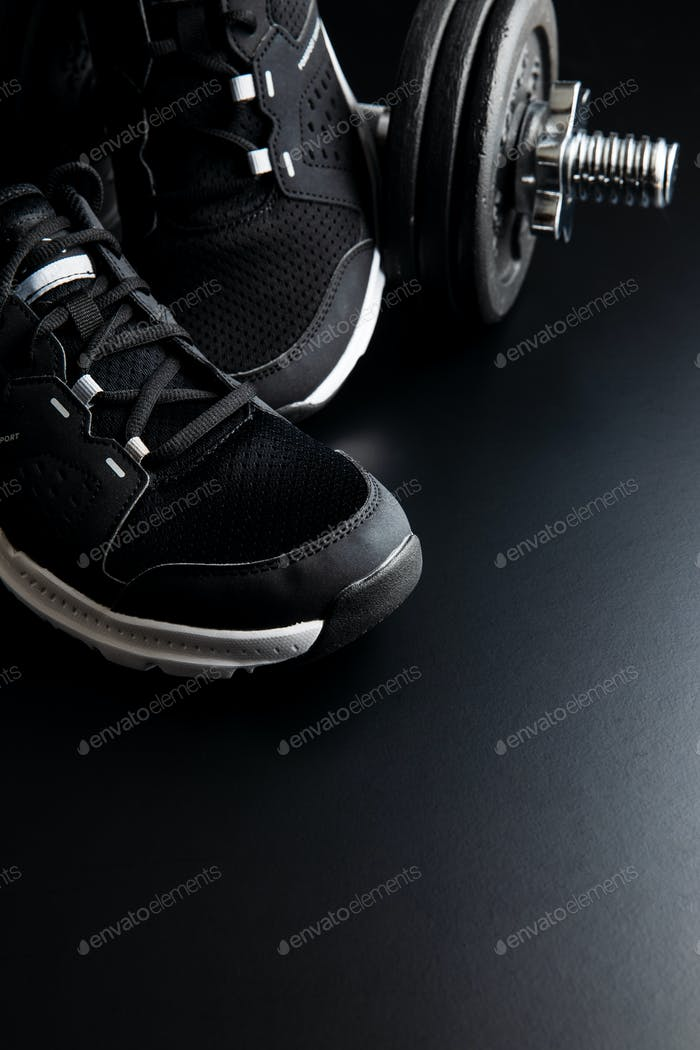 Black sport shoes.