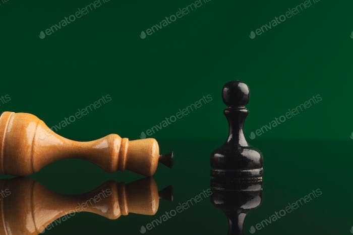 Black pawn has got victory under white queen