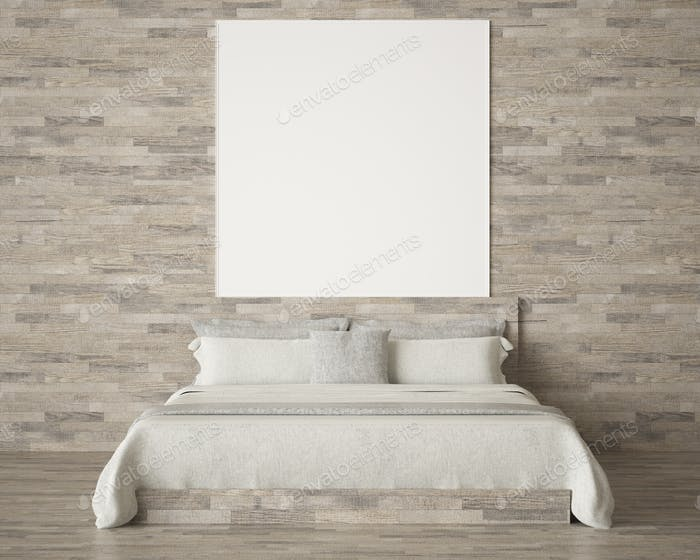 Interior Design of bedroom with picture frame.