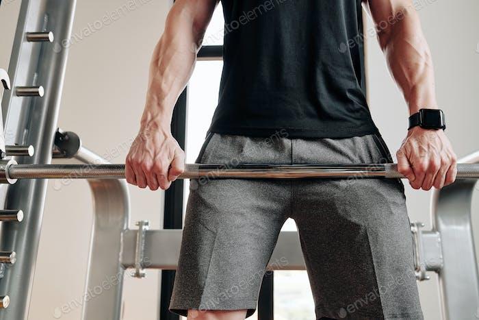 Sportsman doing Romanian deadlift