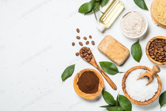 Natural Coffee cosmetic on white background