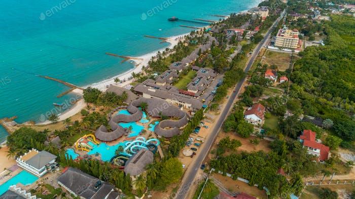 aerial view of the beach resort, city of Dar es Salaam