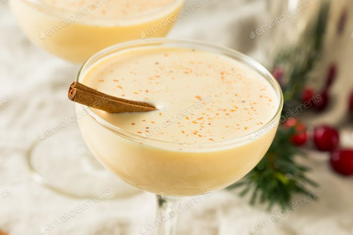 Homemade Eggnog Martini in a Glass