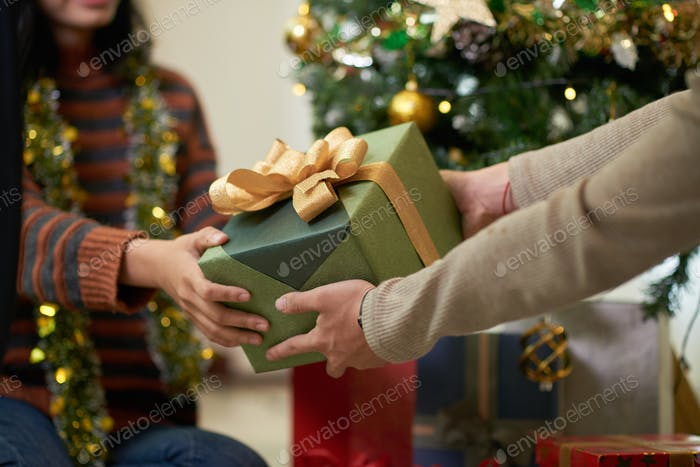 Exchanging Christmas present