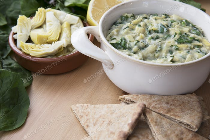 Spinach Artichoke Dip with Fresh Ingredients
