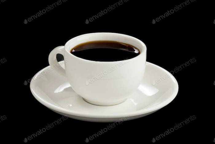 cup of coffee at black