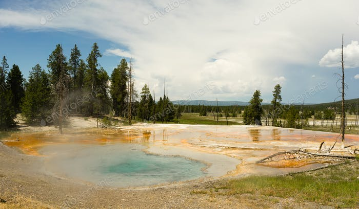 Hot Mineral Springs Bubble and Boil Yellowstone Nationalpark