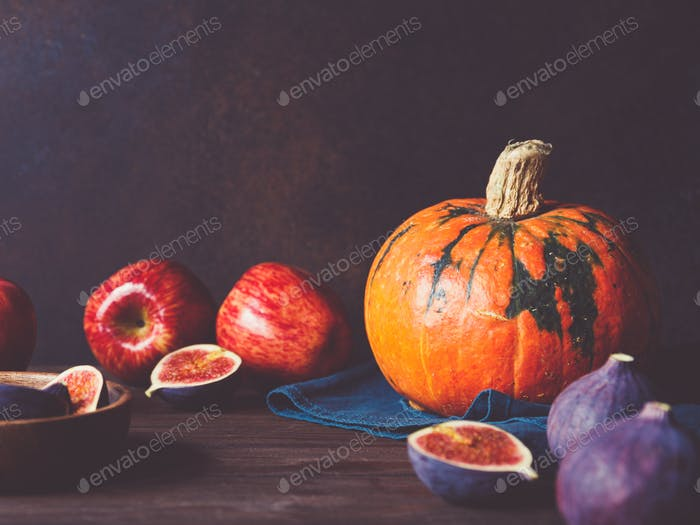 Autumn food still life with season fruits and vegetables