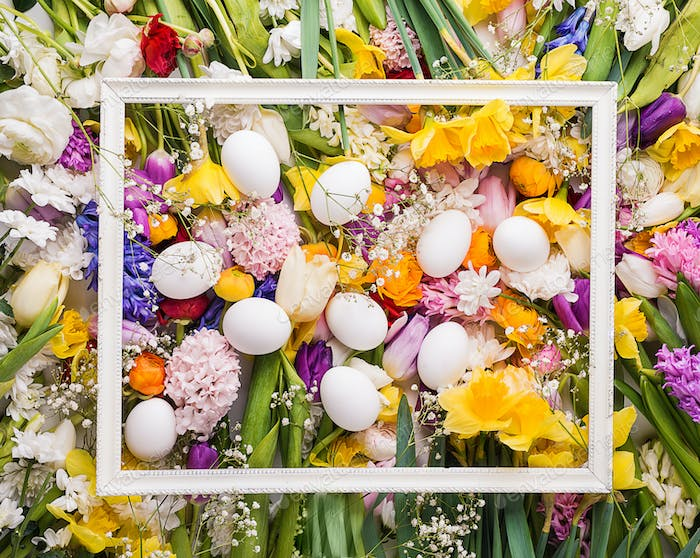 Colorful flowers and white eggs background.