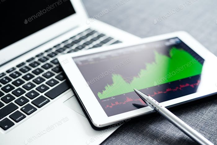Tablet pc with Stock exchange data