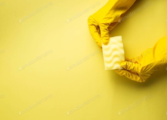Kitchen sponges and rubber gloves