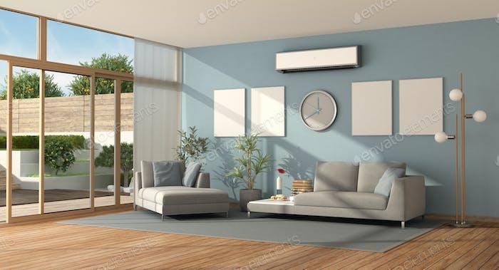 Blueand gray living room of a modern villa