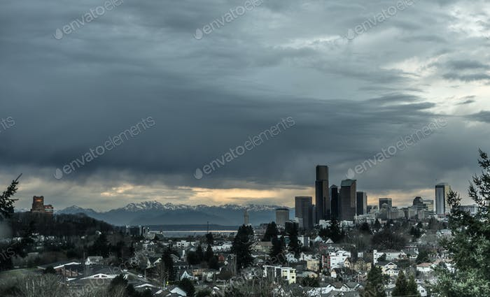 Stormy Sky Seattle Washington Puget Sound Downtown City Skyline
