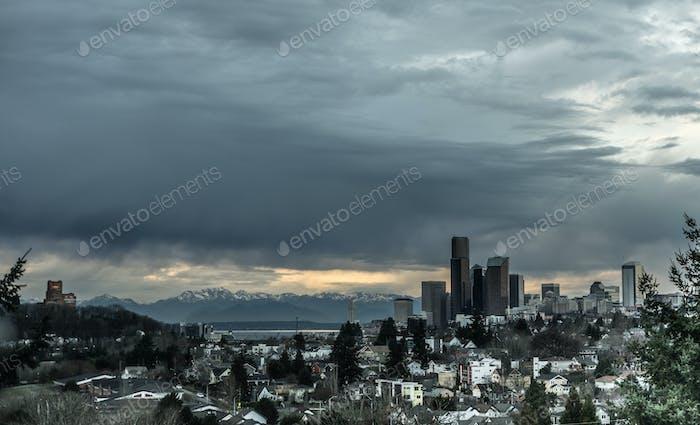 Stormy Sky Seattle Washington Puget Sound Downtown City Skyline
