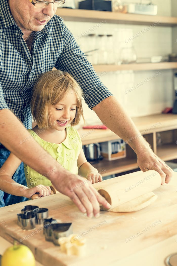 Little Girl Baking Making Cookies Father Activity Concept