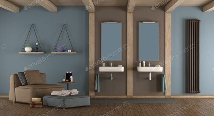 Blue and brown modern bathroom