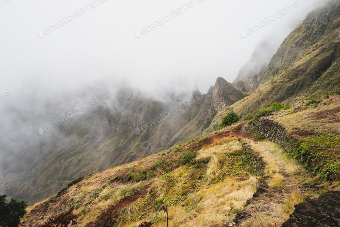 Santo Antao, Cape Verde. Mountain ridge covered in fog on the hike to Xoxo in the Ribeira da Torre