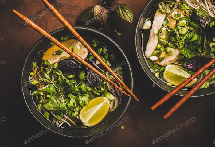 Vietnamese rice noodle and chicken soup Pho Ga, top view
