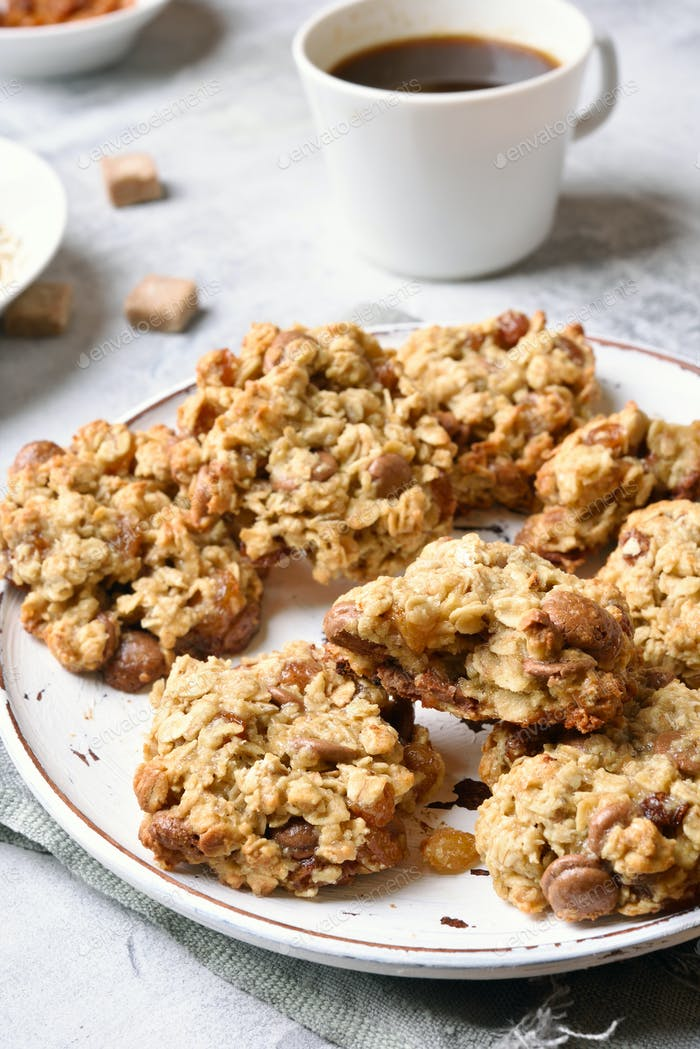 Breakfast with healthy oatmeal cookies