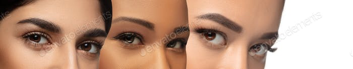 Close up of faces of young women, focus on eyes. Horizontal collage