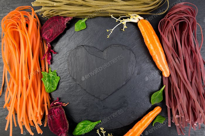 Thumbnail for Colored Raw Vegetable Vegetarian Pasta