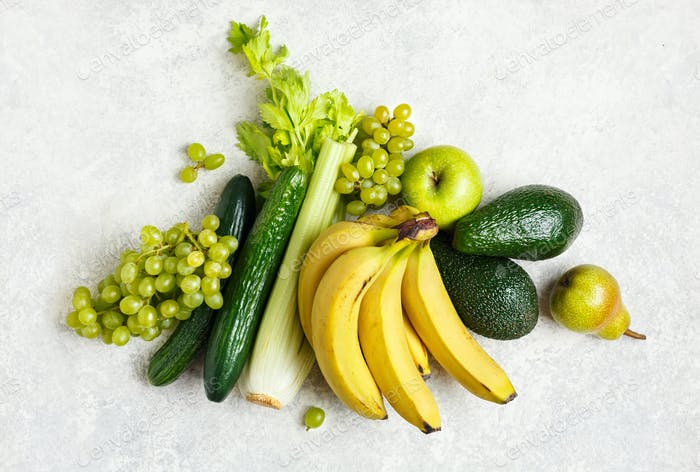 Bio fruits and green vegetables