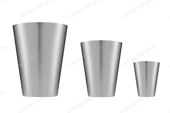 Metallic buckets. Isolated on white background