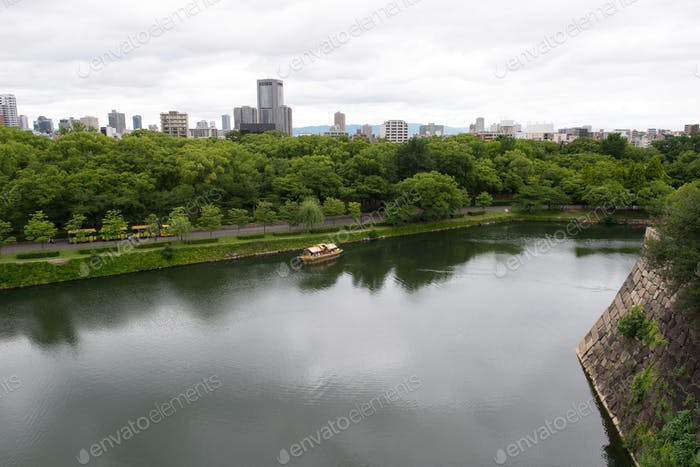 Aerial view of Osaka city from Osaka castle