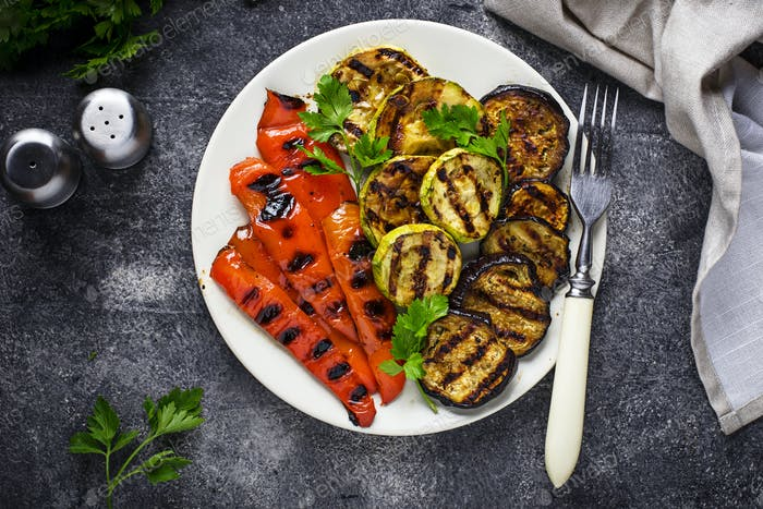 Grilled vegetables. Summer vegan food