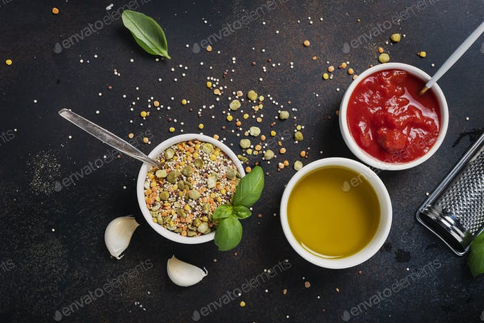 Ingredients for cookind vegetarian mix of legume