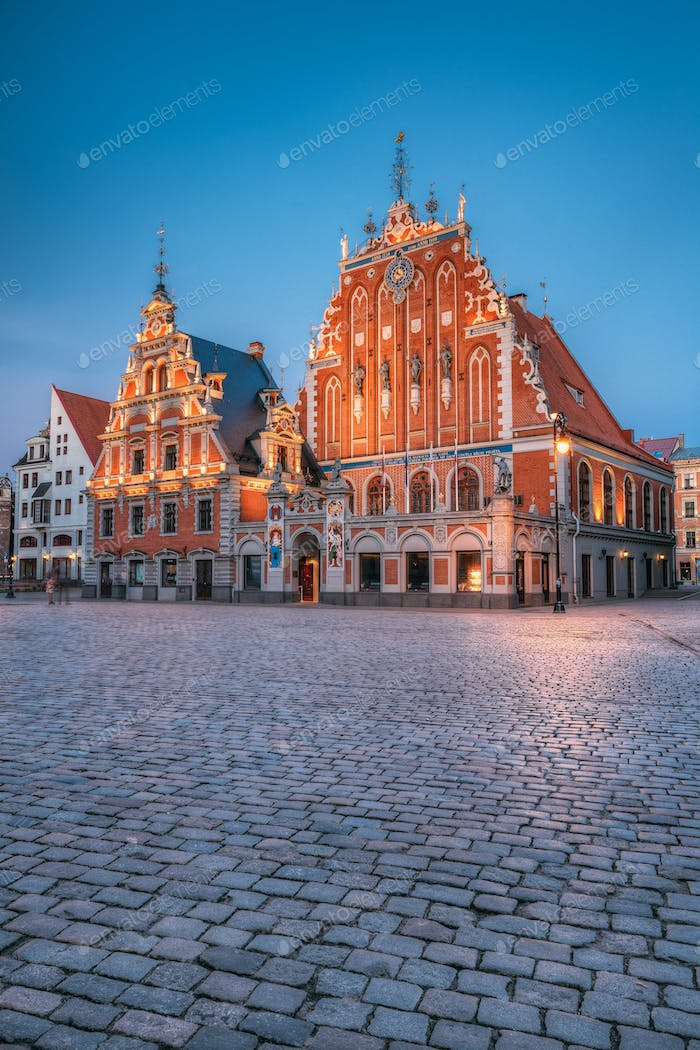 Riga, Latvia. Schwabe House And House Of The Blackheads At Town