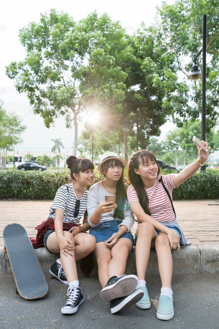 Selfie on pavement