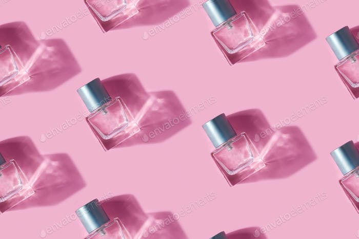 Beauty bottles seamless horizontal pattern