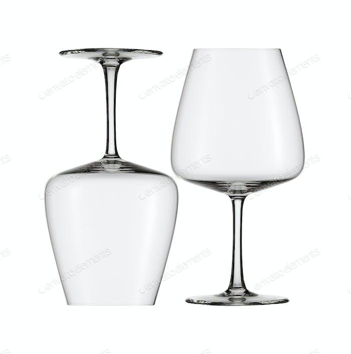 empty wine glasses isolated