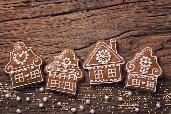 Thumbnail for Gingerbread home cookies on a wooden brown background