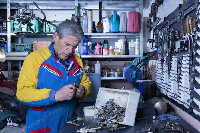 mechanic at his workshop