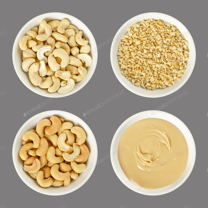 Cashews, raw and processed, in white bowls over gray
