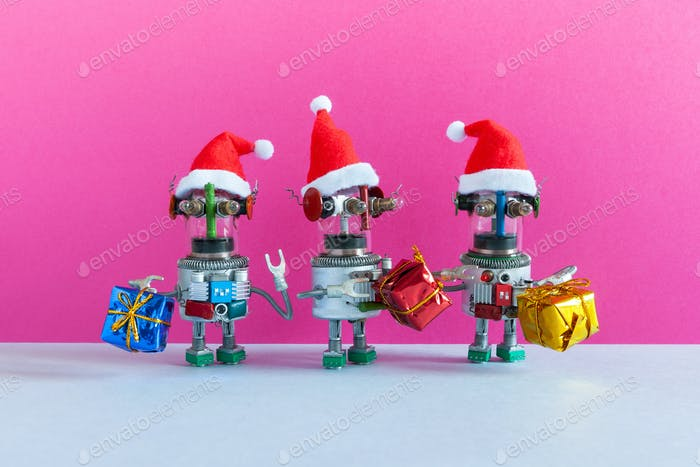 Funny robots Santa Claus characters with gifts.