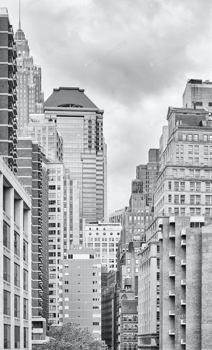 Black and white picture of New York buildings, USA