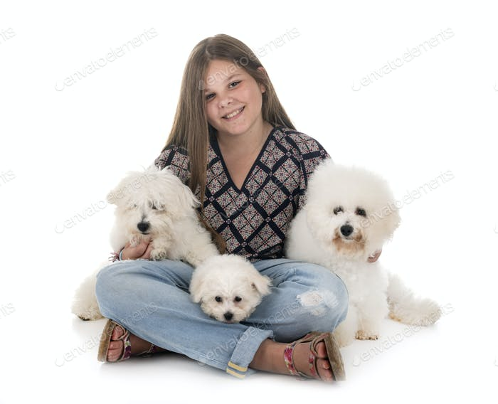 Bichon Frise and teen