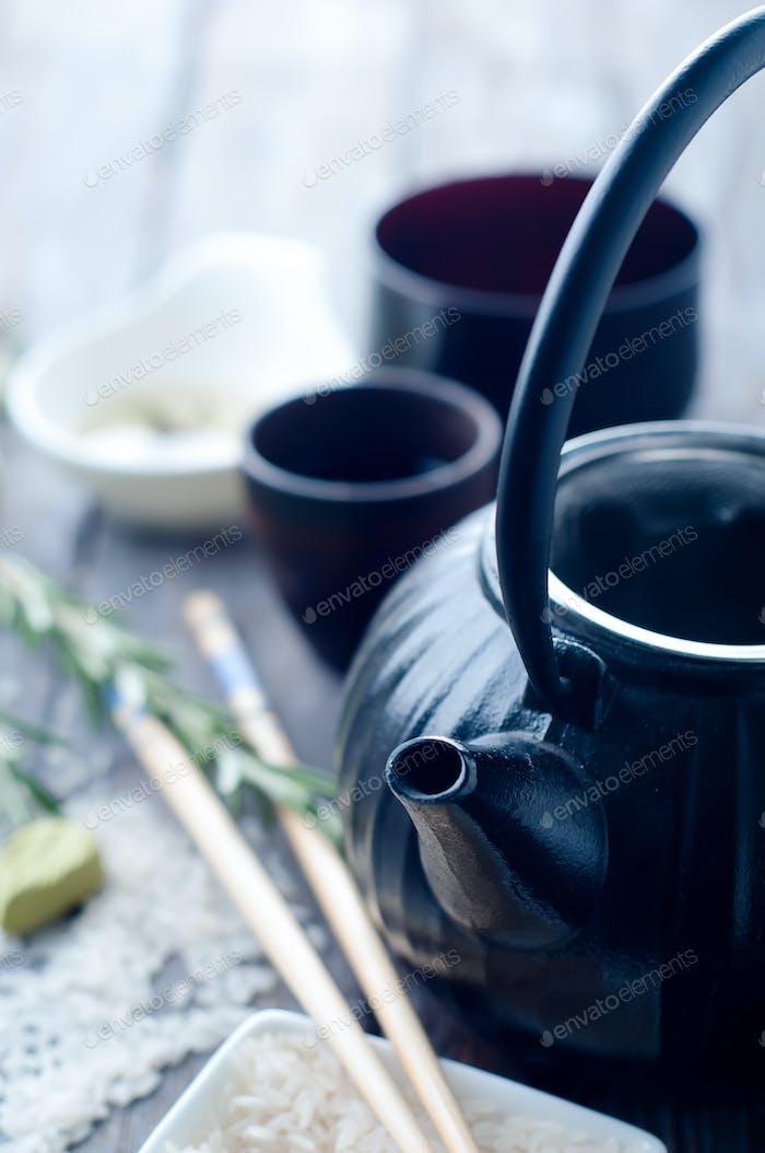 Chinesische schwarze Teekanne