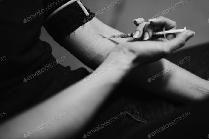 Junkie People Using Syringe Injecting Narcotic Illegal Drugs