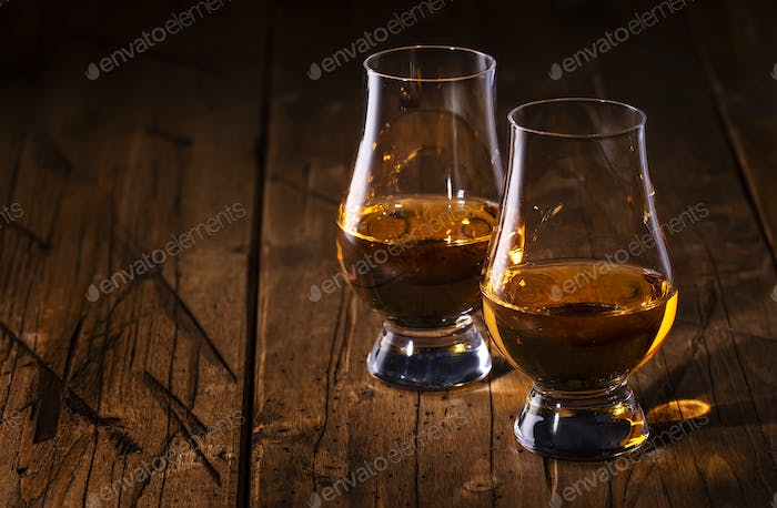 Scotch Whiskey without ice in glasses