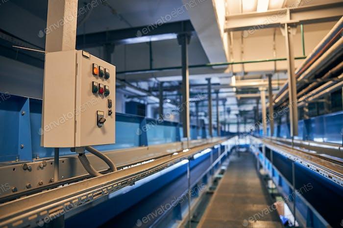 Ptoto of switchboard for conveyor belt system regulation