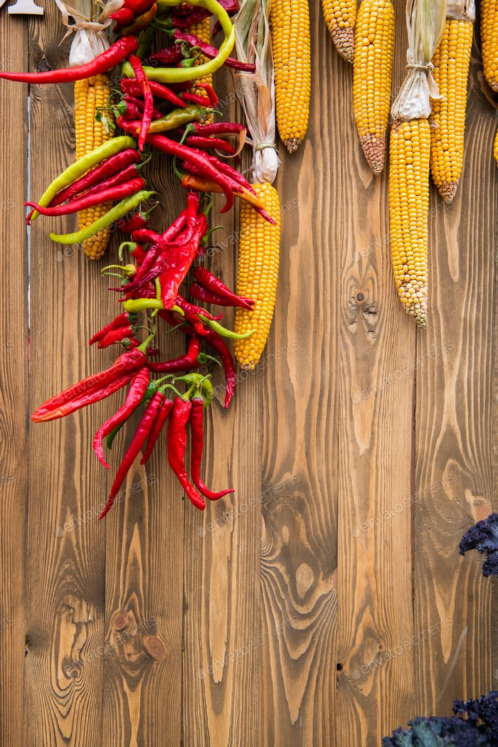 Harvest, culinary, autumn background. Top view. Copy space