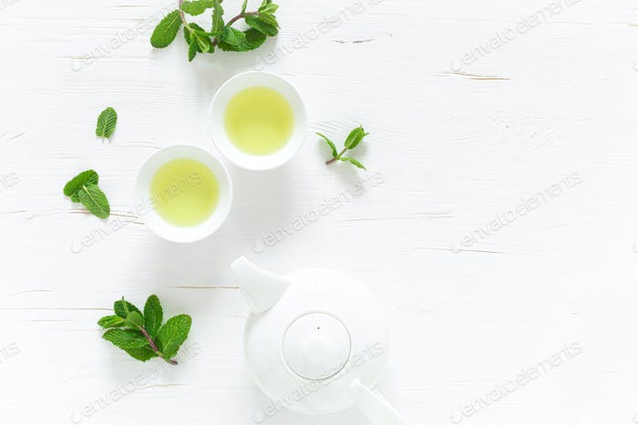 Green mint tea with fresh leaves